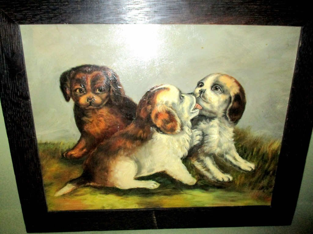 Victorian Oil Painting of Puppies