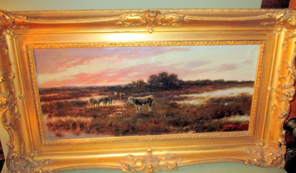 Artist Signed Oil on Canvas of Cows