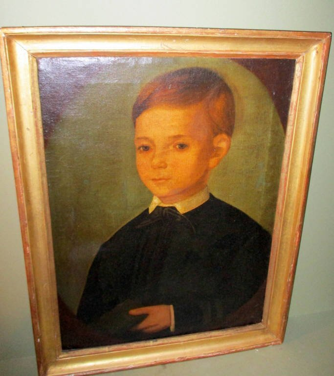 Primitive American Painting of Young Boy