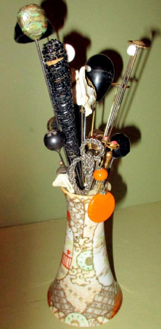 Japanese Hat Pin Holder with Assorted Hat Pins