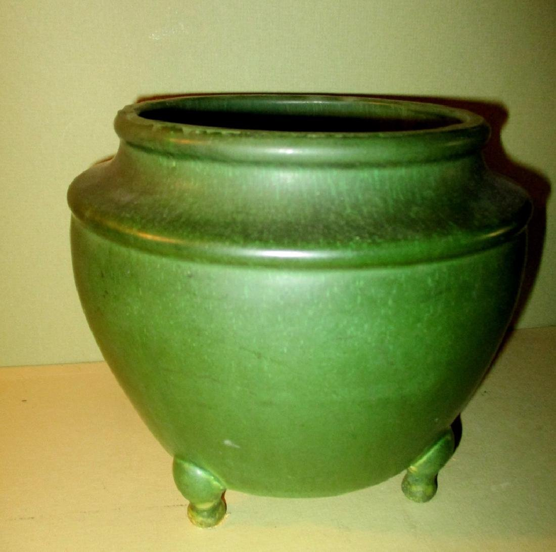 Footed Hampshire Pottery Oil Lamp Base
