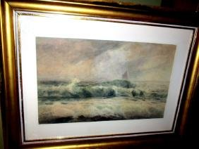 Framed Watercolor Seascape Signed C. Biesel