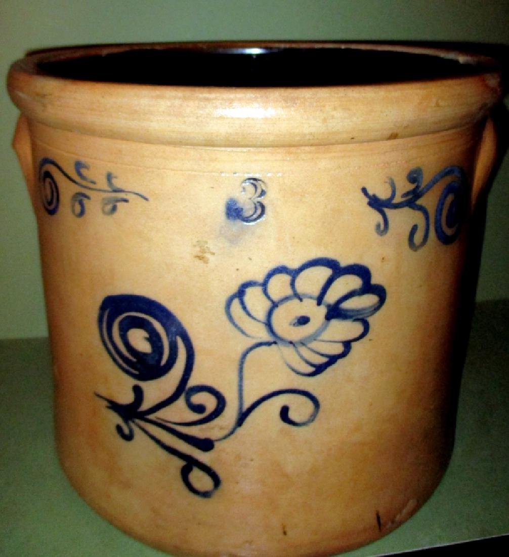 Three Gallon Crock with Blue Decoration