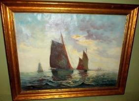 Marine Painting of Sailboats Signed Johnson