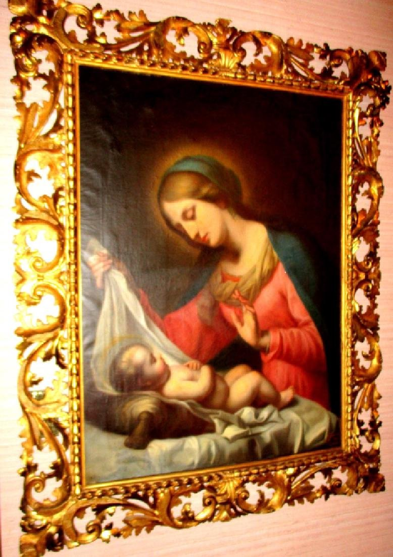 Lg 19th Century Oil on Canvas of Madonna & Child