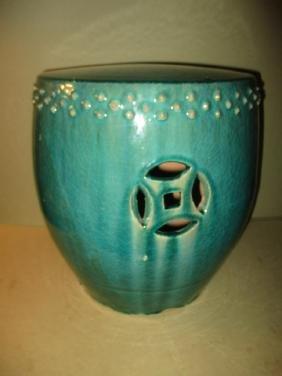 Oriental Glazed Pottery Garden Barrel