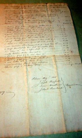 Daniels Family Estate Inventory, 1805