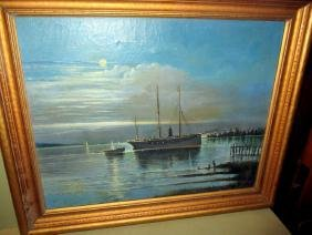 Painting of Ship in Harbor at Night