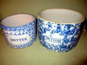 Two Antique Sponge Ware Butter Crocks