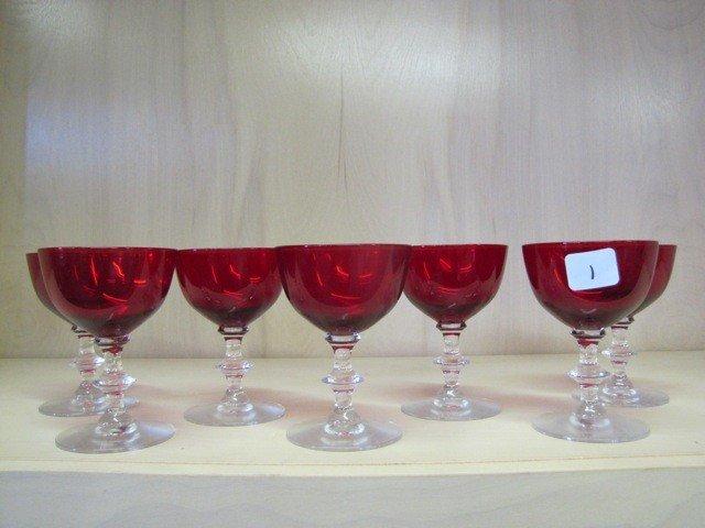 1: Set of 7 Ruby red stemmed goblets