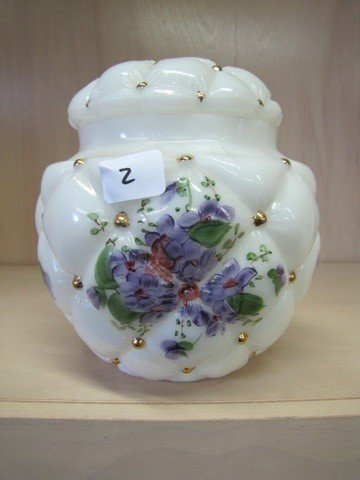 2: Fenton HP quilted covered biscuit jar