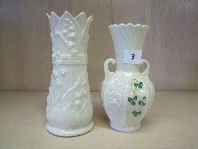 3: 2 Belleek vases
