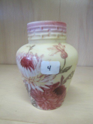 4: Victorian 6 HP milk glass vase w/ chrysanthemum deco