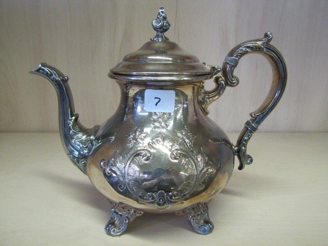 7: Gorham Silver plate Teapot & creamer