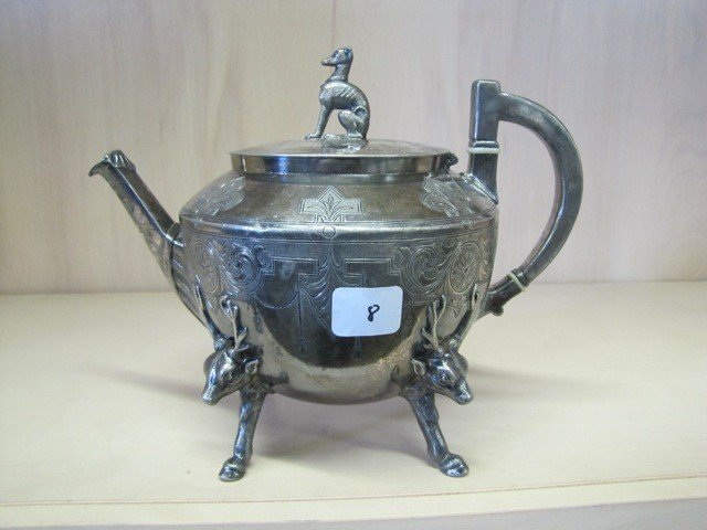 8: Beatiful Silver plate teapot with deer feet and dog