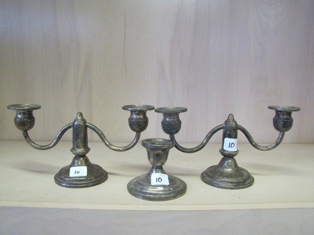 10: Pair of weighted sterling candle holders