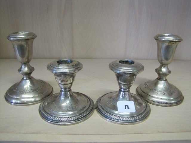 13: Set of Sterling wqeigthed candle holders