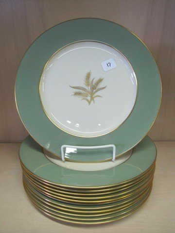 "17: Set of 12 Lenox wheat"" plates"""