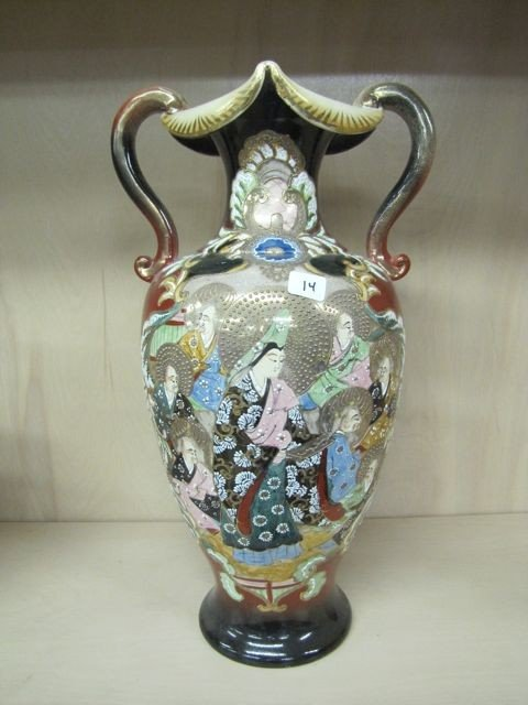 "14: Satsuma 19"" 2 handled vase w/ Oriental persons deco"
