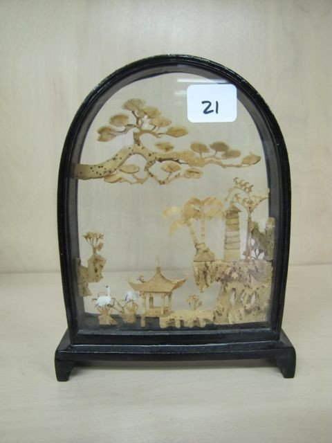 "21: Oriental 7"" Shadow box with Oriental scene of House"