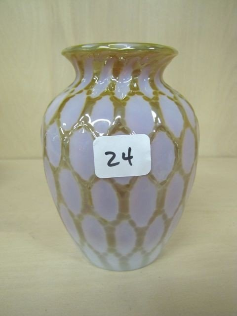 "24: Nice Contemporary Art Glass 5"" Honeycomb vase."