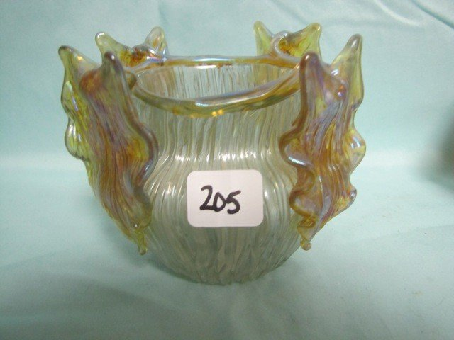 205: RARE Texas/ Empire glass loetz vase with applied l