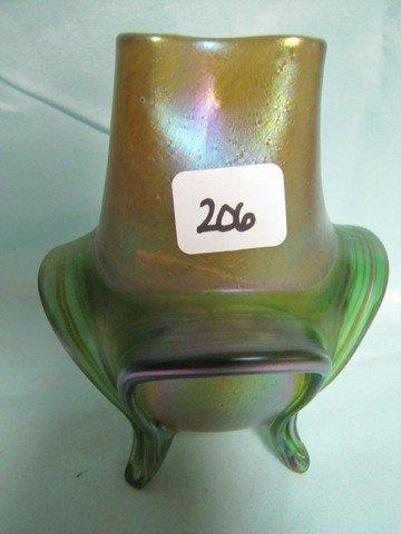 """206: Loetz 4 ft'd 5.5"""" vase. Nice item. DOes havea Smal"""