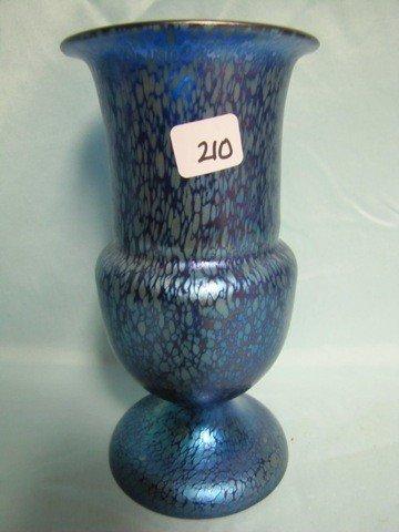 """210: SUPER Loetz 8.5"""" King Tut Blue oil spot vase. Sign"""