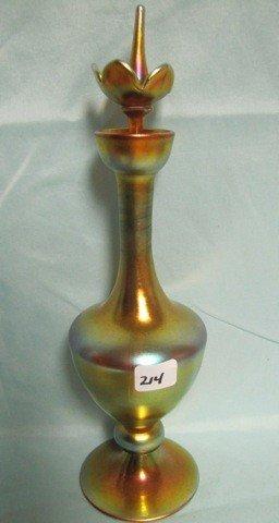 """214: SUPER Steuben 12.5"""" Flower finial perfume bottle."""