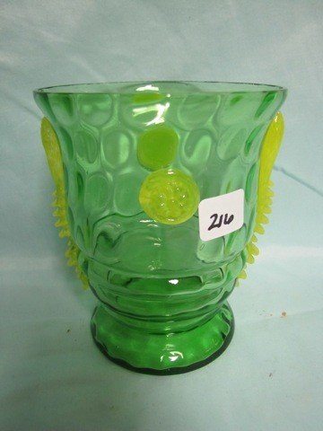 216: Signed Czech vase with Applied rosettes