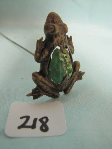 218: RARE Frog hatpin with glass body