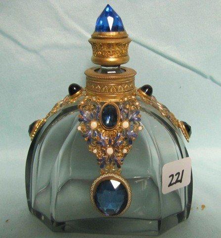 221: Unbelievable Czech/Austr jeweled perfume bottle!