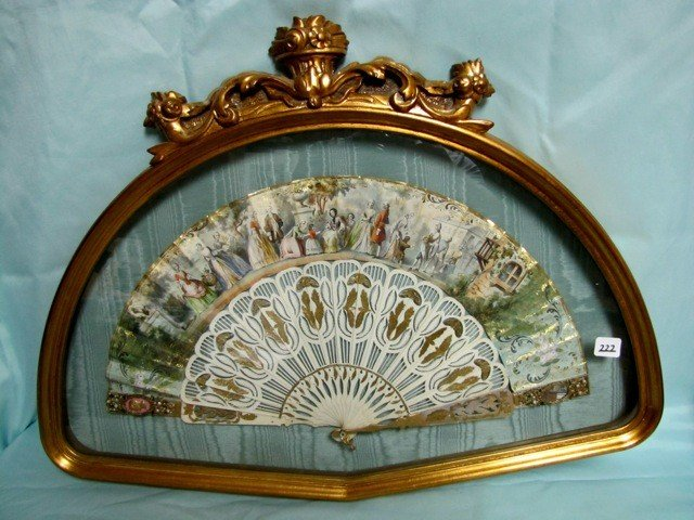 222: RARE Victorian fan in frame with Ivory handle. Nic