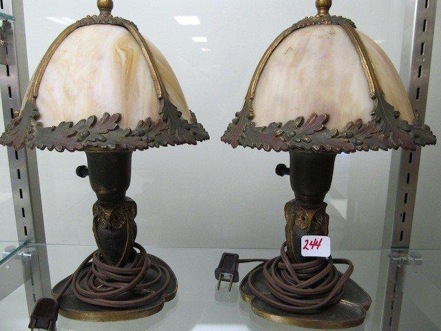 244: RARE PAir Bradley & Hubbard Owl base lamps. Has a