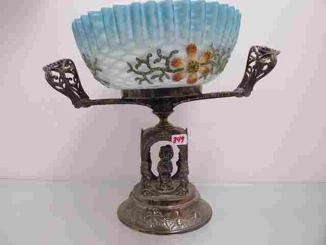 349: Victorian MOP brides bowl in SP frame. HAs beautif