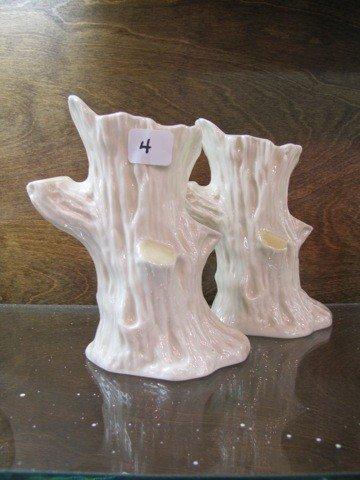 """4: Belleek 2 6"""" Tree Trunk Vases, MK 3rd Green"""