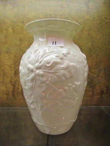 "11: Belleek 8""  Oak Leaf Vase, MK 8th Blue Levy's Savi"