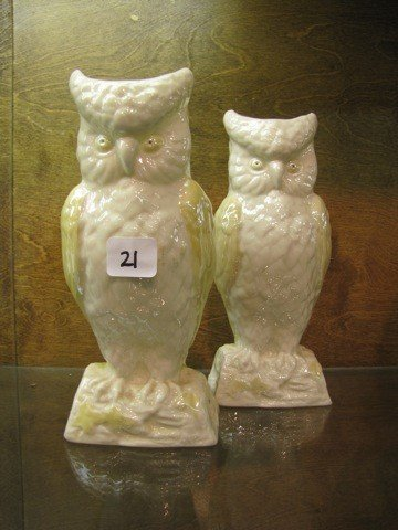 "21: Belleek 2  8"" Owl Vases, MK 6th Green"