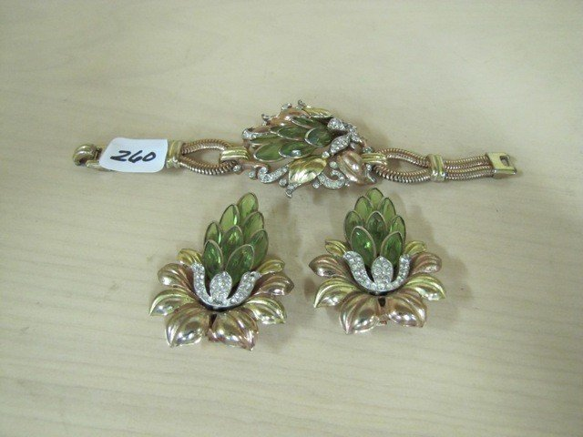 260: bracelet and earrings, TriFari