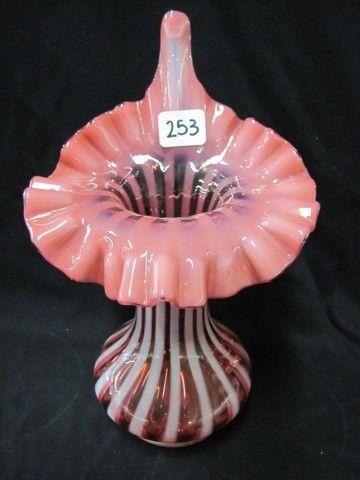 """Fenton 9"""" cran opal Stripe JIP vase"""