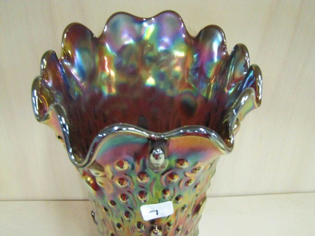 """7: Nwood 13.5"""" purple Tree Trunk Elephants foot vase. B"""