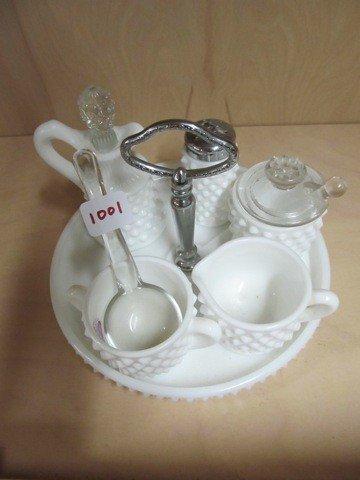 1001: Fenton milk Glass Hobnail condimanet set on round
