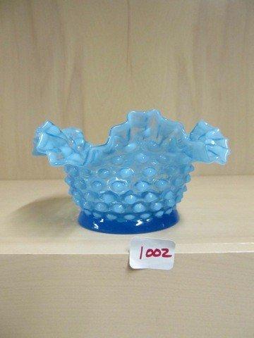 "1002: Fenton blue opal Hobnail 6.5"" ruffled bowl"
