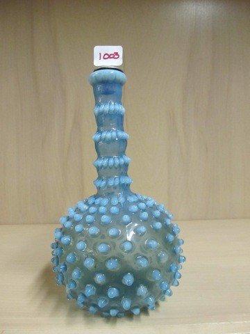 1003: Fenton blue opal Hobnail barber bottle- Hobbs