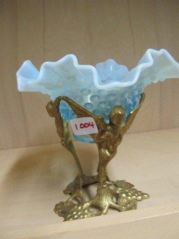 "1004: Fenton blue opal Hobnail 6"" bowl in ormalu frame"
