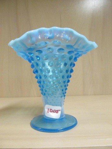 """1005: Fenton blue opal Hobnail 5.5"""" vase w/ square top"""