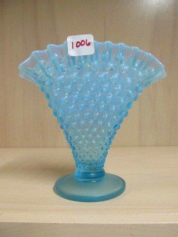 """1006: Fenton blue opal Hobnail 6"""" fan vase"""