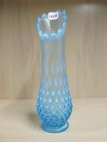 "1008: Fenton blue opal Hobnail 11"" swung vase"