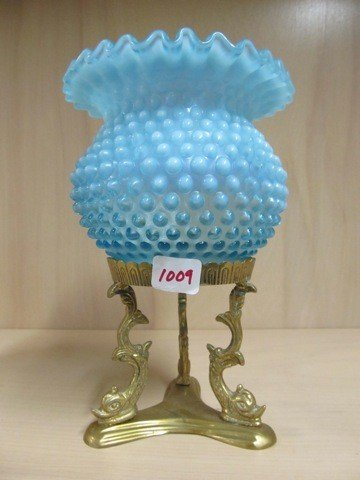 "1009: Fenton blue opal Hobnail 5"" CRE rosebowl in ormal"