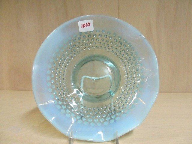 """1010: Fenton blue opal Hobnail 8"""" low bowl"""